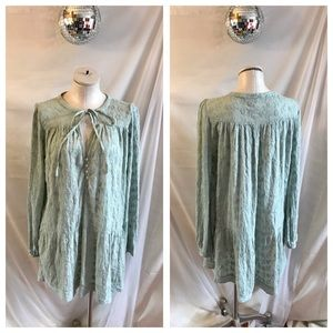 Free People Embroidered Lace Peasant Boho Dress